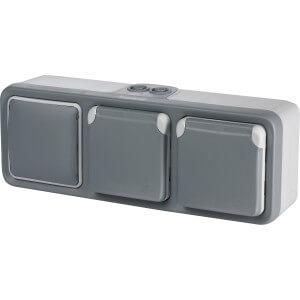 double prise avec terre gris legrand plexo + interrupteur